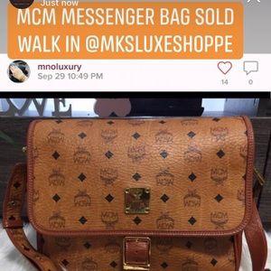 MCM VISETOS MESSENGER BAG COGNAC VGC